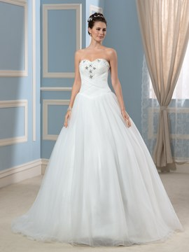 Ericdress Simple Beading Sweep Train Sweetheart Wedding Dress