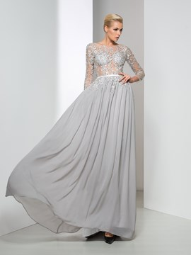 Ericdress Long Sleeve Backless Appliques Evening Dress
