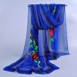 Elegant Three Colors Frame Flower Decorated Chiffon Scarf