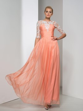 Ericdress Half Sleeve Appliques Pleats Evening Dress