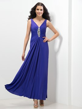 Ericdress V-Neck Beaded Ruches Evening Dress