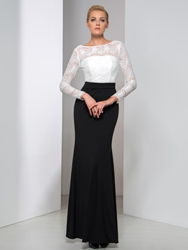 Ericdress Long Sleeve Contrast Color Lace Evening Dress