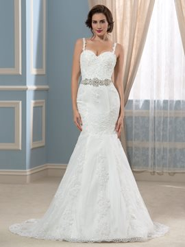 Ericdress Charming Spaghetti Straps Appliques Beading Mermaid Wedding Dress
