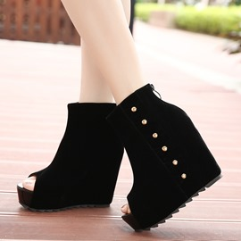 Ericdress Peep-toe Wedge Heel Ankle Boots with Rivets