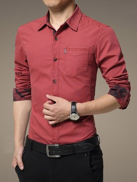 Ericdress Long Sleeve with Pocket Men's Shirt