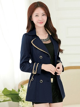 Ericdress Lapel Double-Breasted Trench Coat