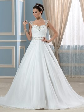 Ericdress Elegant Straps Beading A Line Wedding Dress