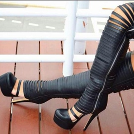 Ericdress Black Hollow Out Knee High Boots