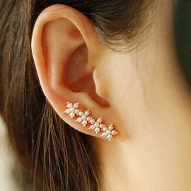 Sweet Flower Decorated Alloy Ear Cuff