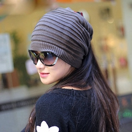 Concise Female Dual-use Knitted Hat