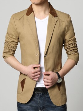 Ericdress Patchwork Pocket Men's Coat