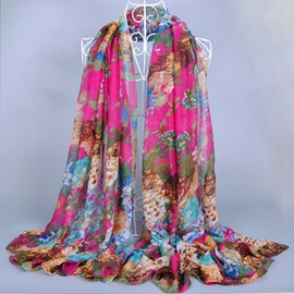 Luxurious Flower Print Voile Scarf