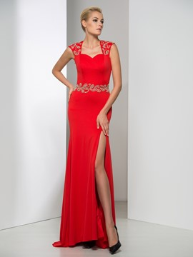 Ericdress Side-Split Open Back Beaded Evening Dress