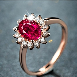 Shining Sunflower Shaped Rose Gold Ring