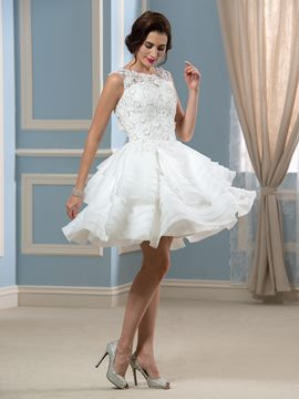 Ericdress Fancy Bateau Lace Short Wedding Dress