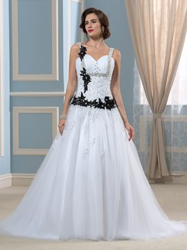 Ericdress Straps Beading Black and White Wedding Dress