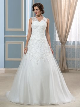 Ericdress Elegant V Neck Appliques Button Wedding Dress