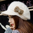 Lovely Bowknot Decorated Female Knitted Hat