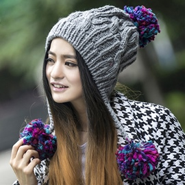 Cute Balls Decorated Pure Color Knitted Hat