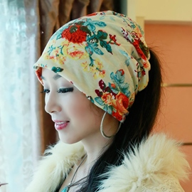 Elegant Flowery Pattern Hair Covering Hat