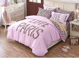 Ericdress Pink Leopard Love Paris 4-Piece Bedding Sets