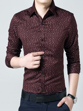 Ericdress Long Sleeve Slim Print Men's Shirt