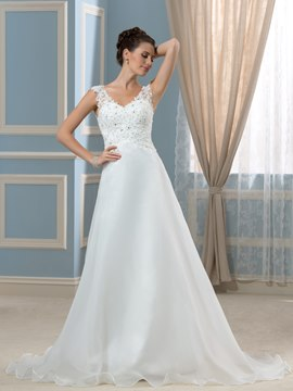 Ericdress Elegant V Neck Appliques A Line Wedding Dress