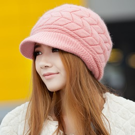 Concise Pattern Trendy Female Knitted Hat