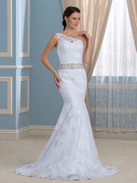 Ericdress Elegant One Shoulder Lace Mermaid Wedding Dress