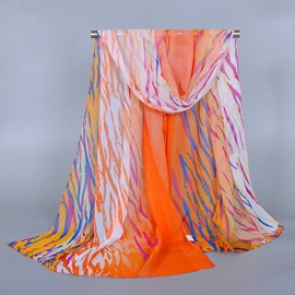 Elegant Zebra-stripe Decorated Chiffon Scarf