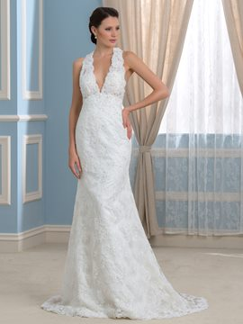 Ericdress Fancy V Neck Lace Wedding Dress