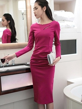 Ericdress Plain Pleated Long Sleeve Sheath Dress