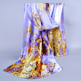 Pastoral Style Flower Decorated Silklike Scarf