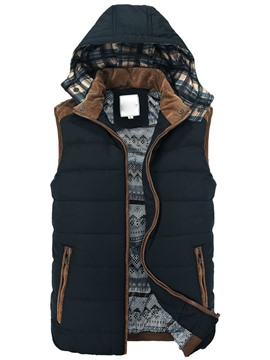 Ericdress Thicken Zip Hooded Men's Cotton Vest