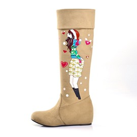 Ericdress Cartoon Print Knee High Boots