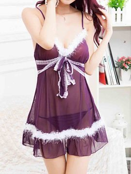 Ericdress Spaghetti Strap Feather Decorated Deluxe Babydoll