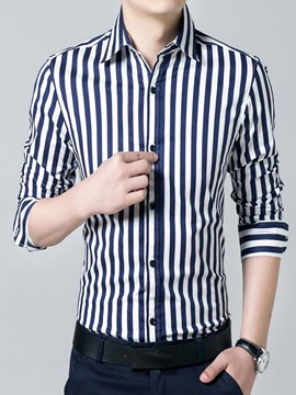 Ericdress Simple Stripe Long Sleeve Men's Shirt