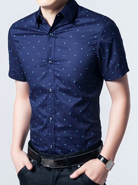 Ericdress Short Sleeve Plus Size Polka Dots Men's Shirt