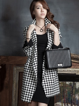 Ericdress Houndstooth Fashionable Coat