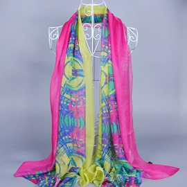 Colors Contrast Floral Printed Silklike Scarf
