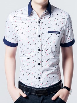 Ericdress Vogue Plus Size Print Short Sleeve Men's Shirt
