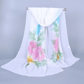 Korean Style Flower and Leaf Decorated Chiffon Scarf