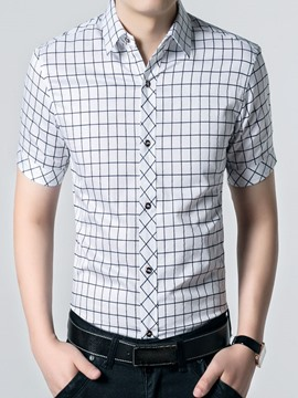 Ericdress Big Plaid Short Sleeve Men's Shirt