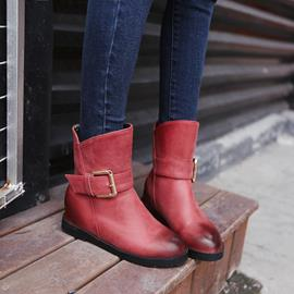Ericdress Solid Color Buckle Decoration Ankle Boots