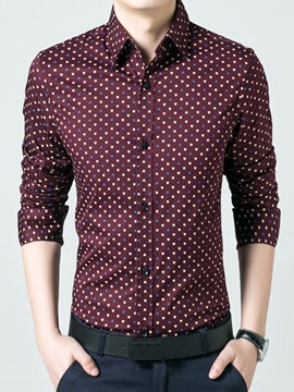 Ericdress Polka Dots Long Sleeve Fall Men's Shirt