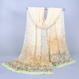 Korean Style Leopard Print Decorated Chiffon Scarf