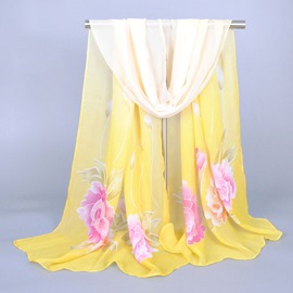 Concise Flower Pattern Fashionable Chiffon Scarf