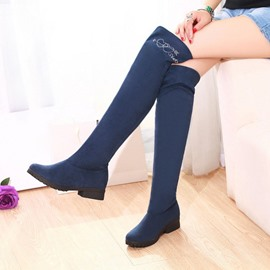 Ericdress Elegant Sude Knight Knee High Boots