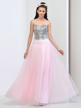Ericdress Sweetheart Lace-up Beading Sequins Prom Dress