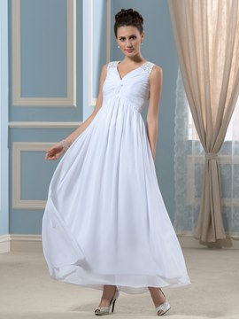 Ericdress Simple V Neck A Line Ankle Length Wedding Dress